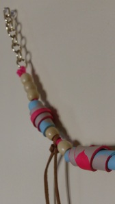 Hand painted, rolled leather beads