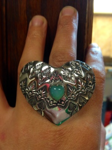 sterling silver and opal heart ring