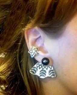Sterling Silver Earring Jackets w/ imitation Tahitian Pearl